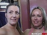 Bukkake sluts drooling on dicks during wet oral session