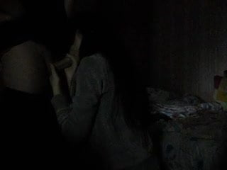 .Deepthroat blowjob  in the dark.