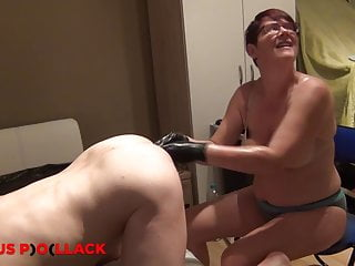 German Hardcore Bdsm video: Nurse Sandra fists a slaves ass elbow deep