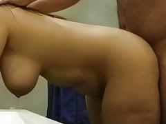 Chubby Huge-boobed Hotwife Arab Wifey Gets Poked In The Bathroom