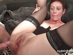 Horny french mature deep throat and hard banged and fisting