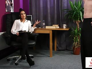 Voyeur Femdom Cfnm video: British CFNM office babe instructs jerkoff