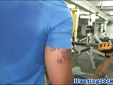 Muscle jock anally drilled in the gym