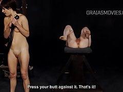 Due schiavi che si frustano a vicenda le fighe