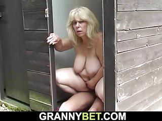 Matures Grannies video: Blonde granny rides stranger's cock on public