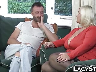 Stockings Blonde Big Tits video: GILF in leather corset takes on two massive cocks