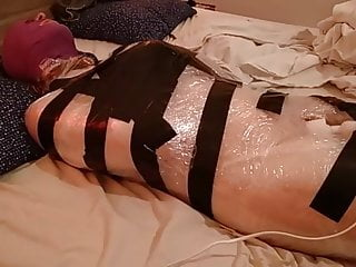 Plastic wrap bondage with a fairy