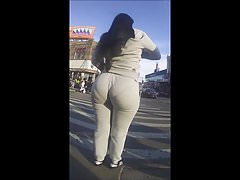Candid Latina Mega Pear Dominican Booty in Gray Sweats