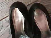 Cumming in my wife's stinky heels after work