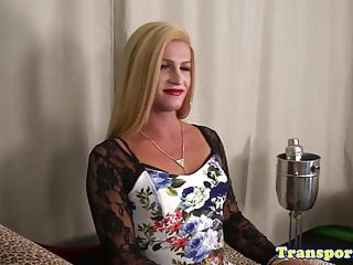 Big Cock Shemale Big Ass Shemale video: Blonde transsexual spreads her ass and jerks