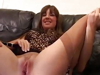 Gangbang Hardcore Stockings video: Horny slut in stockings takes two dicks