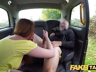 Big Cock Redhead Babe video: Fake Taxi Horny redhead hottie in filthy taxi suck and fuck