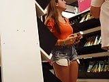 Candid voyeur thick teen in jean shorts beautiful