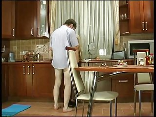 Russian mature Christie anal fucked in kitchen