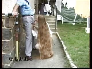 Flashing Blowjob Milf video: long hair suck grandpa