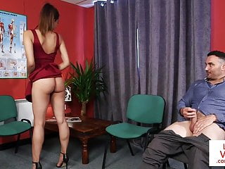Hidden Cams Voyeur High Heels video: CFNM voyeur instructs jerkoff at doc office