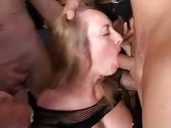mature blonde gets gangbanged