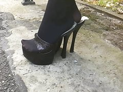 Lady L mit schwarzen Maultieren spazieren.