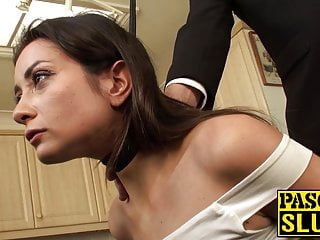 Pretty submissive slut tied up and ass rammed by maledom