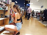 Candid voyeur tall long legs shorts hottie shopping