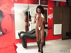 Black ts babe gets anally doggystyled
