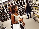 candid voyeur tight beige dress tan model beautiful shopping