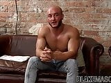 Gay hunk with superb physique masturbating passionately