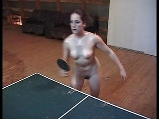 Vintage Funny Softcore video: Oiled nude table-tennis