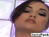 Hot brunette Sasha Grey takes the cock in every hole