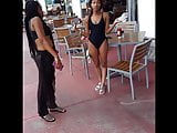 Candid voyeur hot ebony teen in one piece bathing suit