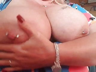 Bbw playing with her big tits at work for me