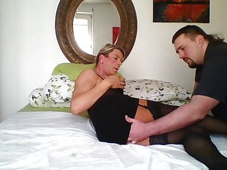 Fatt man with XL cock plays with TV. Pussy Lu