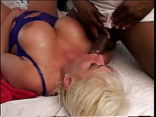 Black dude has busty mature blonde in bed...