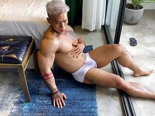 Asian bodybuilder bts photo shot