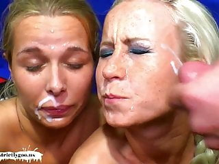 Two sexy blondes blowjob...