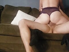 Wife worshipping, then riding husband's cock