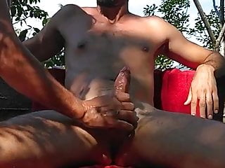 Getting my cock stroked by nudist...