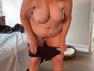 My naked wife kay putting black panties and...