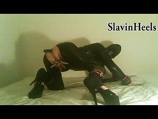 SlavinHeels - long dildo (45cm) full insertion, latex heels