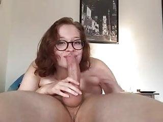 Girl in glasses blowjob...