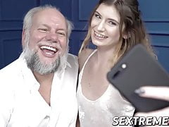 Teenage lady gets mouthful of cum from grandpa