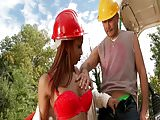 Outdoor Blowjob and Anal at Work
