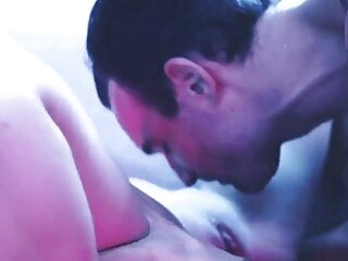 orgasm anal sexy blonde deepthroats a big dick in blue light