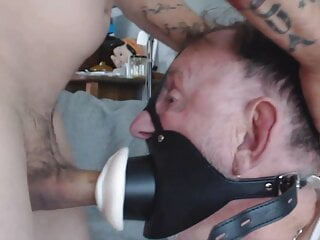 Grandpa's Pussy Gag Face Gets Fucked Hard