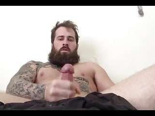 Hot bearded tatted guy with mushroom cock cums...