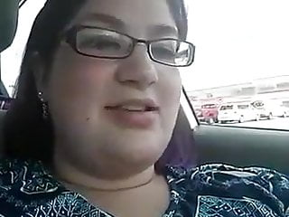 Chubby boobs and big pussy inside car...