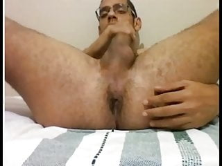 With glasses shows off his juicy dick and...