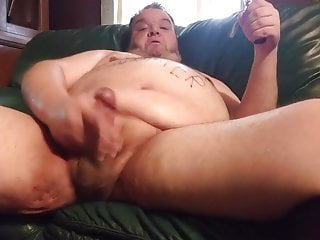 Fat Pig jerks hard and cums all over