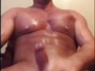 Muscular stud nasty talk, cum unloading on his good girl
