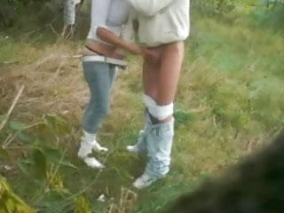 Firm blonde girlfriend blowing and fucked outdoors